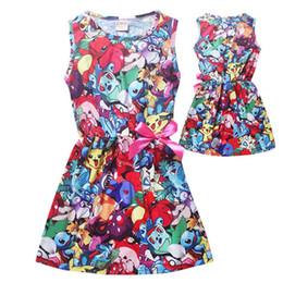 Wholesale Wholesaler Skating Dress - 2 style Girls Summer dresses Smile Pikachu Print one-Neck Skater Pleated Skating Dress girls dresses 5T-12T 009#