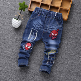Wholesale New Style Jeans Pant Kids - 2017 NEW Autumn Fashion Boys Jeans Cartoon Embroidered Spiderman Baby boy Pants Spring Kids Jean Trousers Children Denim 2-6