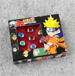 Wholesale Naruto Cosplay Wholesale - Anime Cartoon Naruto Rings Akatsuki Member's Cosplay Finger Rings with box 10pcs Set free shipping retail