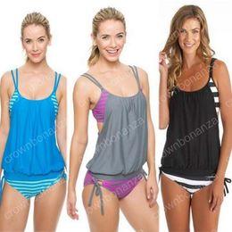 Wholesale Tankini Set Free Shipping - Swimwear Women 2 Piece Suits Plus Size Tankini Swimsuit Two Piece Bikini Set Black Striped Push Up Sport Swimwear Biquini Free Shipping