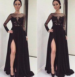 Wholesale See Through Dresses Zuhair Murad - Elegant Oscar Slit High Long Evening Dresses 2017 Zuhair Murad Black Chiffon Full Sleeves Lace Party Prom Gowns See-Through