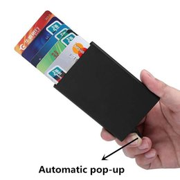 Wholesale Automatic Wallet - High Quality Automatic Business Card Holder Metal Bank Credit Card Holder Aluminium Rfid Blocking Slim ID Card Case Cards Protector for Men