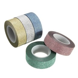 Wholesale Glitter Adhesive Tape - 10m Glitter Washi Sticky Paper Masking Adhesive Tape Label DIY Craft Decorative for wedding  birthday card stickers
