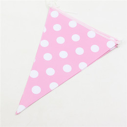 Wholesale Backdrop Lighting For Weddings - Wholesale- 2.5 Meter kids birthday Backdrop decoration colorful Dot Paper Banners light pink Flags for Wedding Birthday Party & theme par