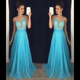 Wholesale Girls One Shoulder Chiffon Dress - 2017 Light Sky Blue Prom Dresses One Shoulder A-line Chiffon Long Custom Made Evening Party Gowns For Girls