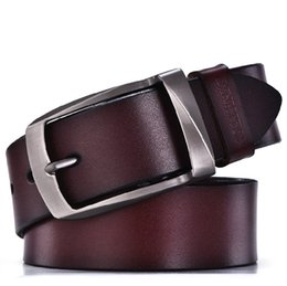 Wholesale Male Black Leather Jeans - designer belts men high quality genuine leather belt man fashion strap male cowhide belts for men jeans cow leather