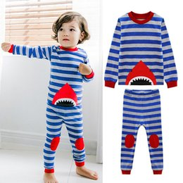 Wholesale Leisure Suits For Boys - Children Striped Shark patterns Pajamas sets Boys Grils cute printing leisure wear suits 6sizes for 2-7T