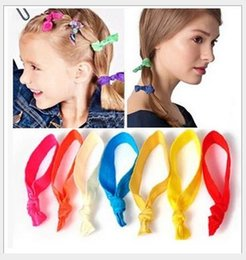 Wholesale Ribbon Hair Extension - 100 Pcs lot (20 Colors Option) New Knotted Ribbon Hair Tie Ponytail Holders Stretchy Elastic Headbands Kids Women Hair Accessory