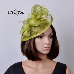 Wholesale Lime Green Feathers - NEW Lime green sinamay fascinator hat for ascot races,melbourne cup,kentucky derby,wedding and party.