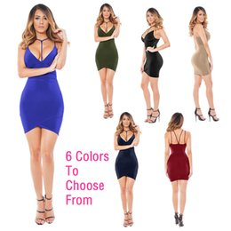 Wholesale Tight Fitting Summer Dresses - 2017 Fashion Sexy Vest Dress Women Summer Short Paragraph Package Hip Sling Dress Tight-fitting Ride Deep V Dress