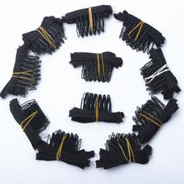 50 adet Siyah renk peruk tarak saç tam dantel peruk Kap Saç Uzantıları Için Peruk Için Küçük Peruk Combs Klipler Caps nereden