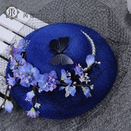 Wholesale Royal Hats For Women - Vintage Royal Blue Wedding Hats For Bride Flowers Tea Party Hats New Fashoin Fascinators Cocktail Hat for Women Free Shipping 2017