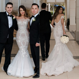 c2a6c5dbf4ee 2017 Sexy New Steven Khalil Lace Wedding Dresses Off The Shoulder Mermaid  Covered Buttons Plus Size Arabic Bridal Gowns Custom Made