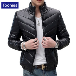 Wholesale Wholesale Padded Jackets - Wholesale- Down Cotton Padded Jacket Black Green Blue Classic Coats Stand Collar Warm Thickening Parka Slim Fitness Outwear Chaqueta Hombre