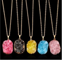 Wholesale Red Druzy - Fashion Natural Crystal Quartz Stone Gemstone Pendant Womens Irregular Necklace Druzy Healing Point Gold Edged Stones Pendants Jewelry