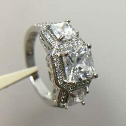 Wholesale Women Stylish Rings - White Stone Stylish Jewelry Women Men Wedding Ring Anel Aneis White Gold Filled Engagement Rings