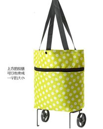 Wholesale Portable Trolleys - Wholesale- 2017 Trolley Portable Pulley Case Cart Bags Flowers in Oxford cloth folding dual-purpose tug bag with wheel rolling shopping bag