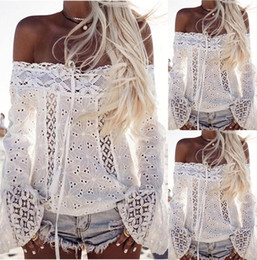 Wholesale Girls Floral Lace Shirt - New Fashion women summer T-shirt Lace Stitching Blouses Sexy Hollow Out Off Shoulder beachwear Tank Top Female Casual party crop Tops Girl