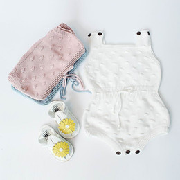 Wholesale Rompers Solid - Retail Newborn Infant Kids Baby Knitted Cotton Bodysuits Rompers Spring Autumn Jumpsuit Overalls Toddler Clothes 0-18M EG004