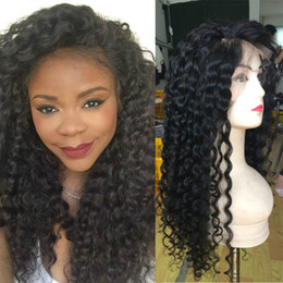 Wholesale New Glueless Full Lace Wig - Malaysian Deep Curly Wave Human Hair Lace Front Wigs 8-26inch New Arrival Full Lace Wig Natural Color Glueless Lace Wigs Retail