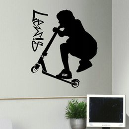 Grandi salotti online-Vendita calda Great Trick Scooter Personalizzato Vinyl Wall Stickers Camera da letto Soggiorno Camera Home Decor Art Fai da te
