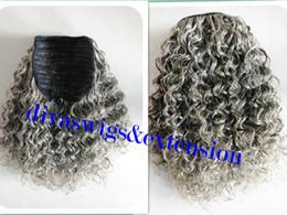 Canada 100% vrais cheveux gris bouffée afro queue de cheval cheveux extension clip en Remy afro kinky bouclé cordon queue de cheval cheveux gris morceau 120g cheap remy hair ponytail extension Offre