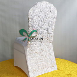 Wholesale Chair Covers Lycra Fabric - New Design Lycra Spandex Chair Cover Back With Satin Rosette Fabric For Wedding Party Decoration