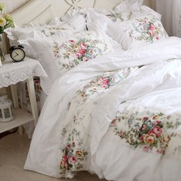 ruffle duvet set Promo Codes - Wholesale- New pastorale ruffle lace bedding set elegant princess bedding matching duvet cover flower printed bedspread emboridery bedsheet