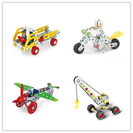 Wholesale 3d Puzzle Construction - Cool DIY 3D Assembly Metal Engineering Vehicles Model Kits Toy Car Crane Motorcycle Truck Airplane Building Puzzles Construction Play Set