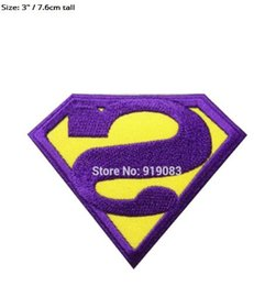 Wholesale Iron Patches Superman - Superman DC Comics Purple Gold Logo TV MOVIE SERIES EMBROIDERED Iron On Patches Bizarro TRANSFER Badge Wappen halloween