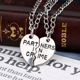 Wholesale Friends Charms - Partner In Crime Necklace silver plated Best Friends BF Broken Heart Pendants for Women Men Jewelry Gift Drop Shipping