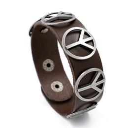 2017 рок знак мира браслет мужчины плетеный манжеты кожа символ мира браслеты панк широкий натуральная кожа браслеты для мужчин ювелирные изделия от
