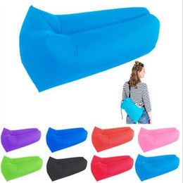 Wholesale Air Inflatables - DHL ship Fast Inflatable Air Sleeping Bag Hangout Lounger Air Camping Sofa Portable Beach Nylon Fabric Sleep Bed with Pocket and Ancho