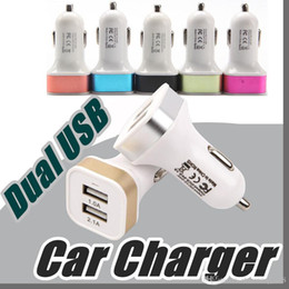 Wholesale Iphone5 Adapters - Promotion Metal 2.1A Dual USB 2 Port Car Charger Adapter For Tablet Ipad Iphone5 6 6Plus Samsung S6edge Note4 Note3 Mobile Phone N-SC