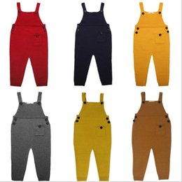 Wholesale Trouser Suspenders Kids - Kids Ins Overalls Rompers Knit Suspenders Ins Straps Jumpsuit Wool Pants Fashion Ins Suspender Trousers Casual Long Pants Playsuit B2568