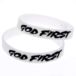 Wholesale First Silicone - Wholesale Shipping 100PCS Lot God First Silicone Bracelet, Great For Daily Reminder By Wearing This Wristband