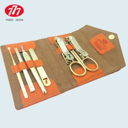 Wholesale import south korea - Wholesale- South Korea Imported Genuine 777 Nail Clippers Sut Clippers Manicure Scissors Sut Golden Seven Sets Of Multi-Purpose Durable