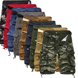 pantalones cortos cargo capri hombres Rebajas Shorts para herramientas Calf-Length Cargo shorts para hombres Multi-pocket Solid Men Shorts para playa Capris top selling Cotton large size