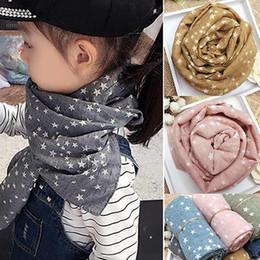2019 estola Al por mayor-Venta caliente de la muchacha Kids Star Pentagram Cálido chal otoño invierno regalo s robó bufanda suave N83Y 7FYA rebajas estola