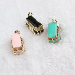 Wholesale Enamel Bus Charm - 10pcs lot Zinc Alloy Gold Plated 3D Bus With Rhinestone Floating Enamel Charm Pendant For Bracelet Necklace Jewelry Makings DIY