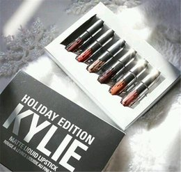 Wholesale Discount Mini Top - New kylie holiday edition mini kit KYLIE lipgloss Jenner Matte Liquid Lipstick Lasting 6pcs best christmas gift discount price DHL top