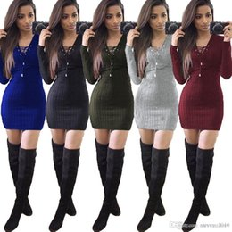 Wholesale Sexy Lace Bow Bodycon Dress - 2017 Autumn Winter Woman Bandage Dress Playing Corns Sexy Heloma Pit Package Hip Long Sweater Women V Neck Pencial Dresses