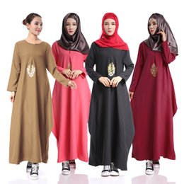 Wholesale Muslim Robes - Muslim long sleeve dress Abaya Turkish women clothing Islamic Lady jilbabs and abayas Robe musulmane vestidos longos Dresses cheap clothing