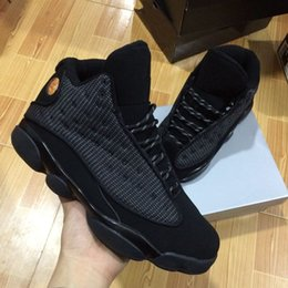 Wholesale Size 13 Shoes For Men - New mens 13 OG Black Cat Basketball Shoes All Black 13s Trainer Sneakers For Sale Size 8-12