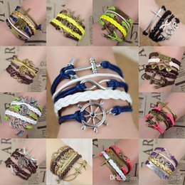 Wholesale Anchor Love Infinity Leather Bracelet - 24 Style Mixed Infinity leather bracelet Wraps bracelet Anchor & love & wings & owl Bracelet Hand-woven bracelets multilayer c109