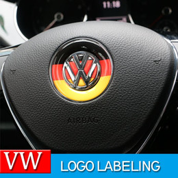 Wholesale car steering wheel accessories - Car Styling Steering wheel Logo Emblem Sticker For Volkswagen VW Polo Tiguan Touran Passat B5 B6 B7 Golf 4 5 6 7 Jetta MK5 MK6
