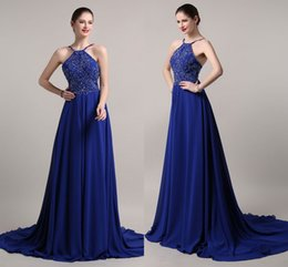 Wholesale Evening Dresses Diamonds - 2017 Blue New Exquisite Diamond Ornaments Sexy Halter Chiffon Long Section Trailing Party Formal Evening Dress Sexy Back Dance Party Dresses