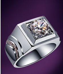 Lujo 1Ct corte redondo genuino SONA anillos de diamantes sintéticos para hombre prevalente 925 plata esterlina plateado plateado anillos regalo desde fabricantes