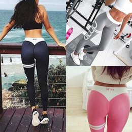Wholesale Pink Yoga Leggings - 2017 New Womens Ladies YOGA Gym Workout Sports Leggings Running Fitness Pants Stretch Trouser 8 Colors 4 Size