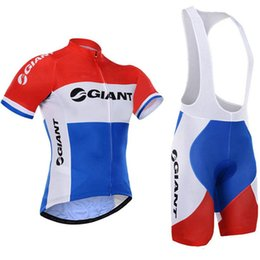 Wholesale Giant Blue White Mountain Bike - 2017 Giant Cycling Jersey set men Short Sleeve Breathable ropa Ciclismo Mountain Bike clothing bicycle bib shorts 9D gel pad F0501